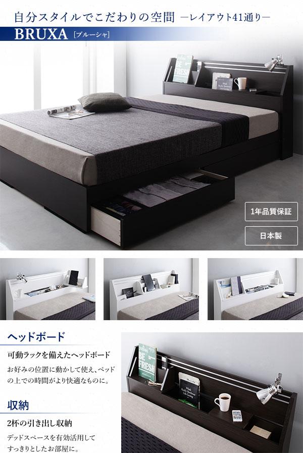 リズムが良いベッドの代表格のひとつが自分スタイルでこだわり空間を作れる『【BRUXA】ブルーシャ~レイアウト41通り』です。